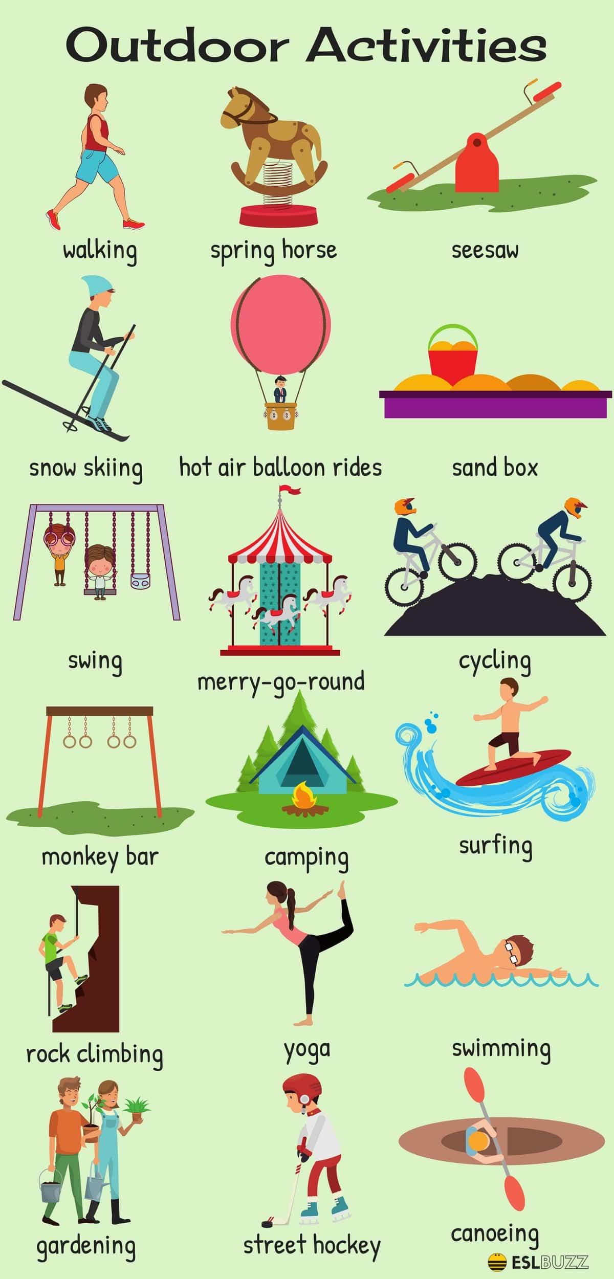 Vocabulaire des activités de plein air en anglais