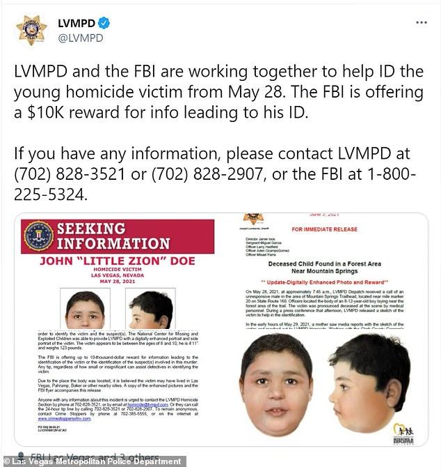 Le FBI et la LVMPD affirment tous deux que l'enfant a été victime d'un homicide.  Ils pensent qu'il a été retrouvé dans les 24 heures suivant sa mort.