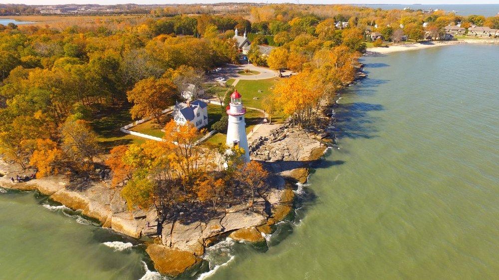 Vue aérienne de Marblehead, Ohio, à l'automne.